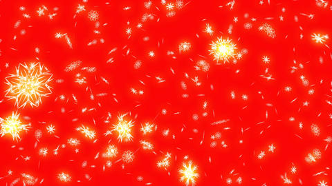 Christmas and New Year animation. Golden Christmas snowflakes on red background CG動画素材
