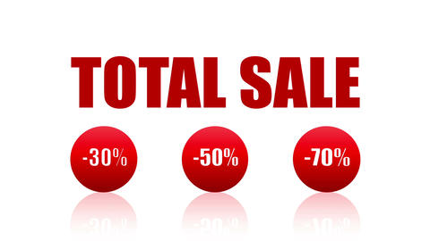 Total Sale Loopable Video (Endless, Seamless, Red, -30%, -50%, 70%) Animation