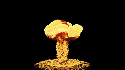 Nuclear Explosion Isolated On Black Background With Alpha 動画素材, ムービー映像素材