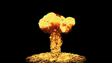 Nuclear Explosion Isolated On Black Background With Alpha Animation
