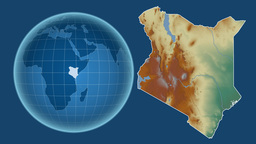 Kenya and Globe. Relief Animation