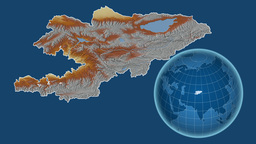 Kyrgyzstan and Globe. Relief Animation