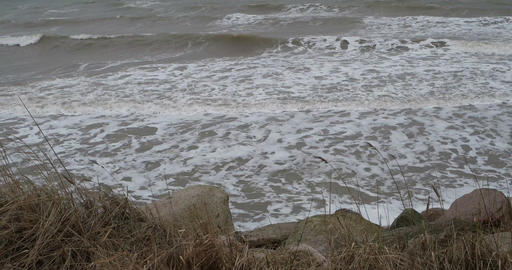 Surge of the Baltic Sea in Germany Footage