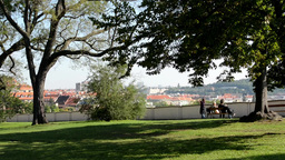 people relax in the park (sitting and walking)- nature (grass and trees) - city  Footage