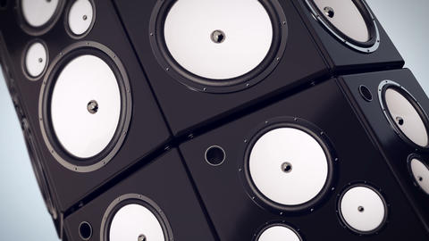 Animation of Hi fi audio stereo system sound speakers background Animation