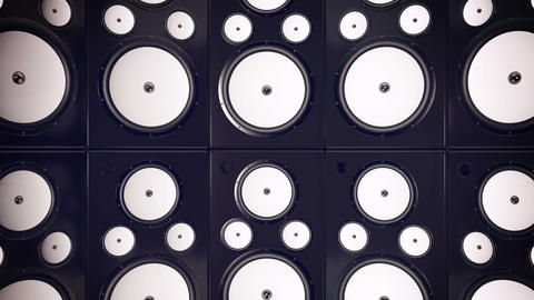 Sound speakers background. Audio stereo system. 3d Animation