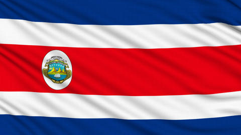 Costa Rican flag, with real structure of a fabric Animation