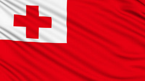 Tonga Flag, with real structure of a fabric Animation