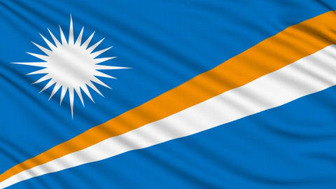 Marshall Islands Flag, with real structure of a fabric Animation