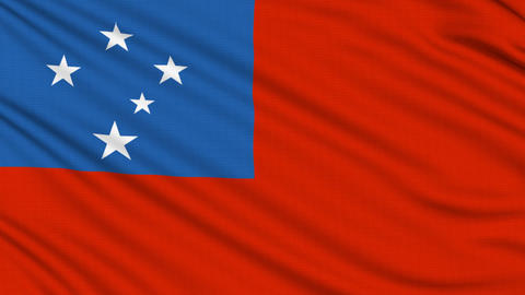 Samoa Flag, with real structure of a fabric Animation