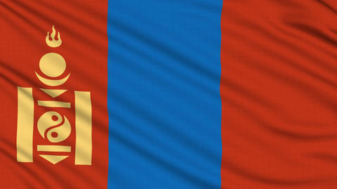 Mongolia Flag, with real structure of a fabric Animation
