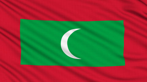 Maldives Flag, with real structure of a fabric Animation