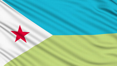 Djibouti Flag, with real structure of a fabric Animation