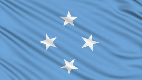 Micronesia Flag, with real structure of a fabric Animation