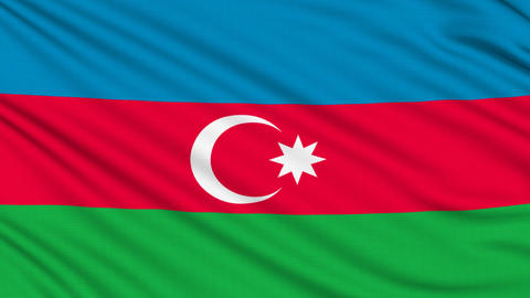 Azerbaijan Flag, with real structure of a fabric Animation