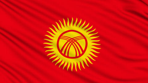Kyrgyzstan Flag, with real structure of a fabric Animation