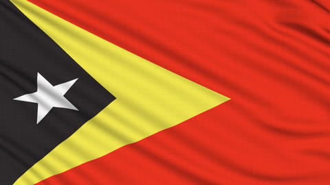 East Timor Flag, with real structure of a fabric Animation