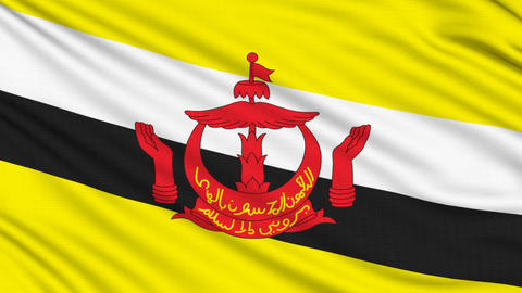 Brunei Flag, with real structure of a fabric Animation