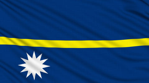 Nauru Flag, with real structure of a fabric Animation