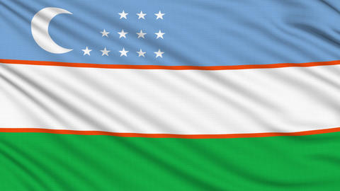 Uzbekistan Flag, with real structure of a fabric Animation