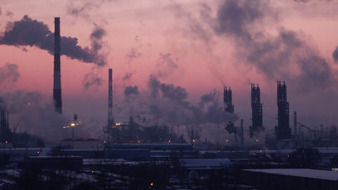 C0180_Oil Refinery Air Polution 4K_3 Footage