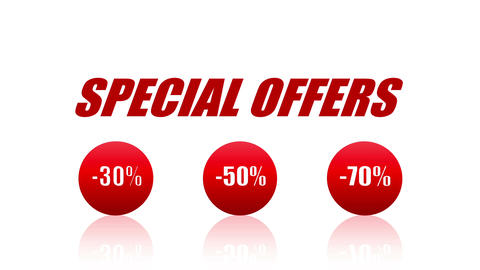 Special Offers Sales Promotion Animation Looping Video (Endless, Seamless, Red Animation