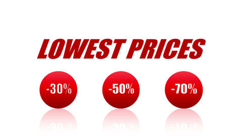 Lowest Prices Sales Promotion Animation Looping Video (Endless, Seamless, Red Animation