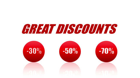 Great Discounts Sales Promotion Animation Looping Video (Endless, Seamless, Red CG動画素材