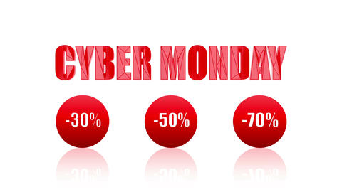 Cyber Monday Sales Promotion Animation Looping Video (Endless, Seamless, Red Animation