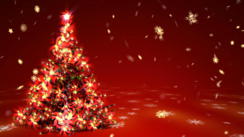 Christmas tree with surrealistic plasma lights and blizzard of gold snowflakes Animation