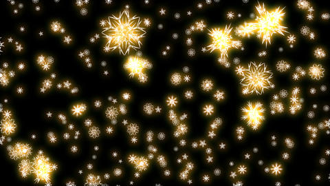 Christmas and New Year animation. Golden Christmas snowflakes on black Animation