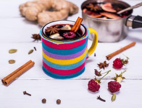 hot mulled wine in a mug Photo