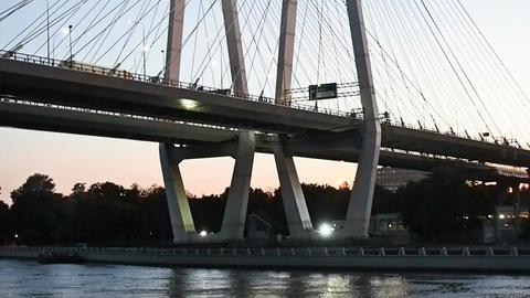 SAINT-PETERSBURG, RUSSIA - September 4, 2017: View of the bridge across the Neva Footage