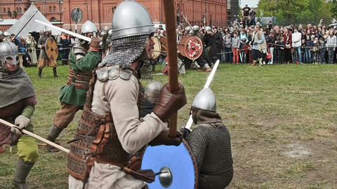 St. Petersburg, Russia - May 27, 2017: A demonstrative battle of the ancient Footage