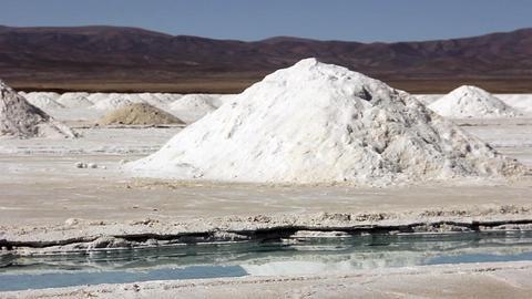 Salinas Grandes Salt Flat, in Argentina Footage