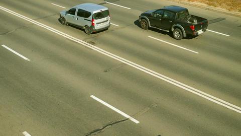 Machines go on three lanes. Time lapse Footage