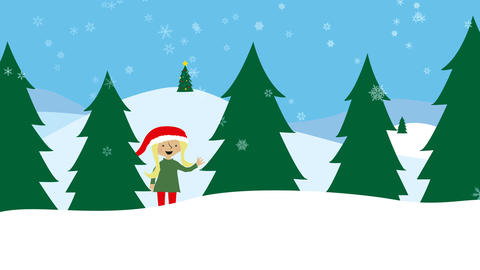 Girl with santa hat in winter landscape Animation