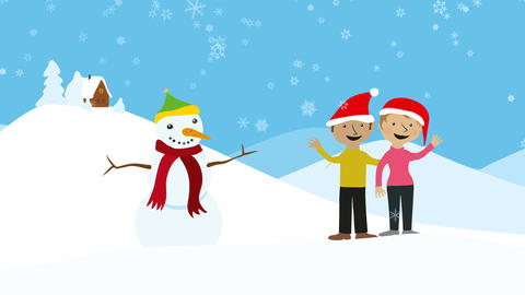 Couple celebrating xmas in snowy scenery Animation