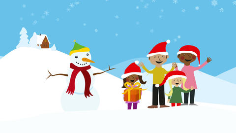 Celebrating family xmas in snowy scenery Animation