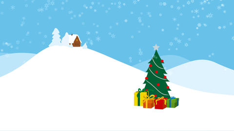 Winter landscape with christmas tree and snow falling Animation