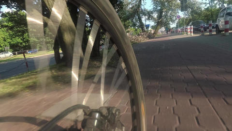 Spinning rear bicycle wheel Footage