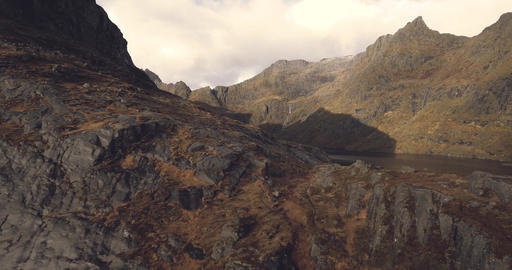 Beautiful landscape over the mountain range in Norway lofoten Footage