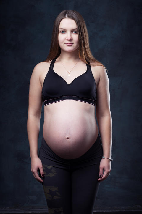Pregnant woman with big belly Photo