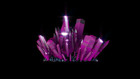 Pink crystals stone with alpha channel Animation