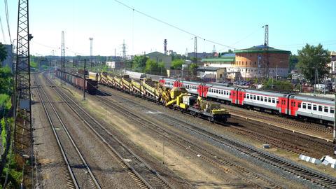 Railway station Domodedovo. Snow train stops at the railway station Domodedovo Footage