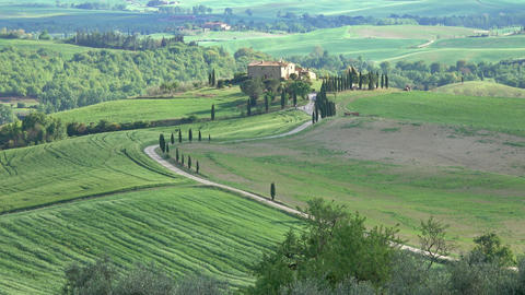 Tuscany farmland hill fields in Italy Footage