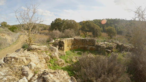 ruins and remains of an ancient Christian church near the old olive garden and Footage