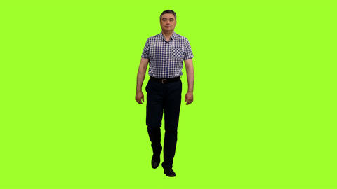 Front view of an elegant man in a plaid shirt walks on green screen background Footage
