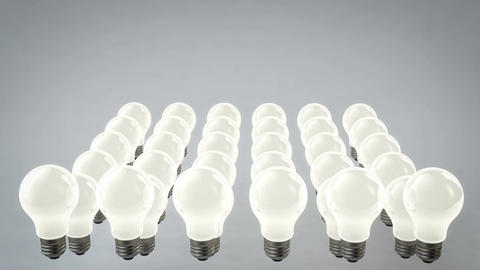 Rows of Moving Light Bulbs Animation