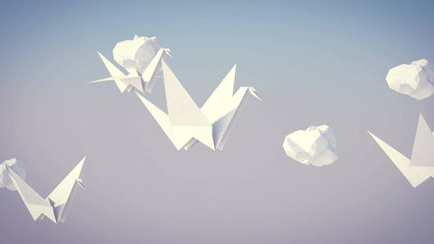 Flock of Flying Paper Cranes Animation